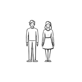 Casal apaixonado ícone de doodle de contorno desenhado de mão. mulher e homem namorando ilustração de desenho vetorial para impressão, web, mobile e infográficos isolados no fundo branco.