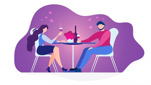 Casal apaixonado, jantar no restaurante vector plana