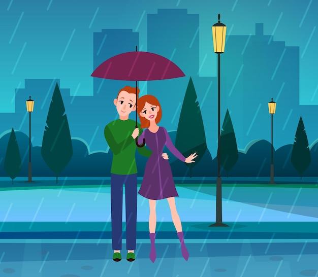 Casal apaixonado. jovens românticos apaixonados sob o guarda-chuva no parque, tempo chuvoso, personagens de marido e mulher se abraçando na rua na noite da cidade paisagem plana cartoon vetor conceito