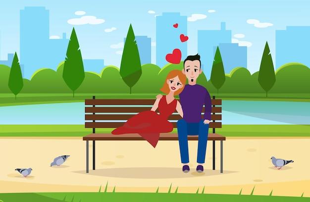 Casal apaixonado. jovens românticos sentam no parque no banco, personagens de marido e mulher se abraçando do lado de fora na paisagem da cidade no conceito de vetor de desenho animado de data