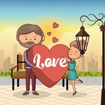 Casal apaixonado na cadeira do parque