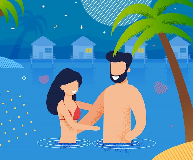Casal apaixonado, nadando no oceano à noite dos desenhos animados