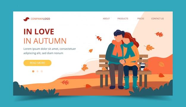Casal apaixonado no banco no outono. modelo de página de destino.