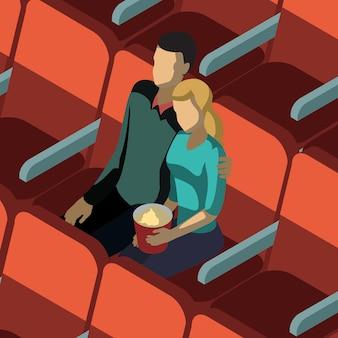 Casal apaixonado no cinema isométrico