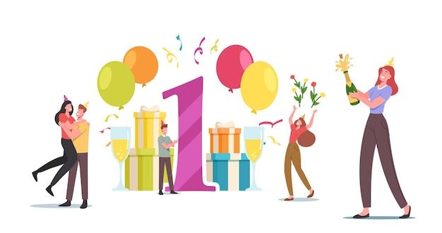 Casal apaixonado, personagens masculinos e femininos, comemoram aniversário, um ano juntos. comemoração de festa para rapaz e mulher