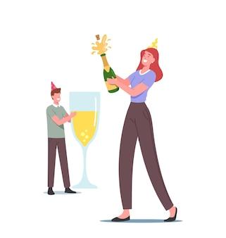 Casal apaixonado, personagens masculinos e femininos em bonés engraçados bebem champanhe, comemoram aniversário, um ano juntos