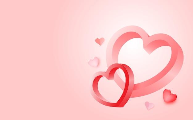 Casal apaixonado por um monte de fundo do coração e cor pastel romântica