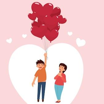 Casal apaixonado segurando balões imprimir
