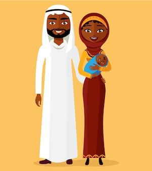 Casal árabe com um bebê recém nascido vetor feliz