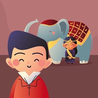 Casal asiático com elefante