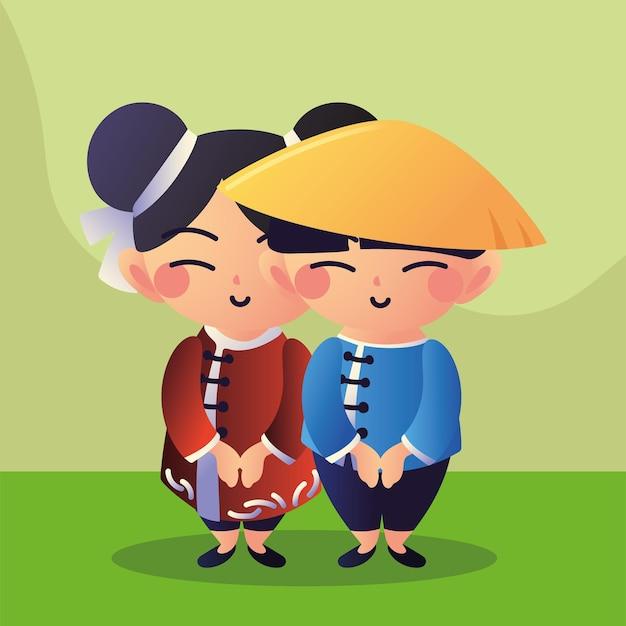 Casal asiático na grama