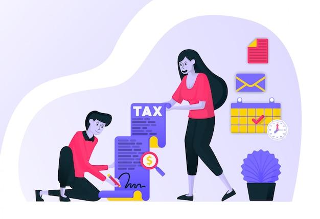 Casal assinando e preenchendo o pagamento de impostos