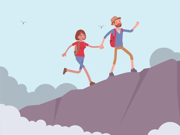 Casal até a montanha
