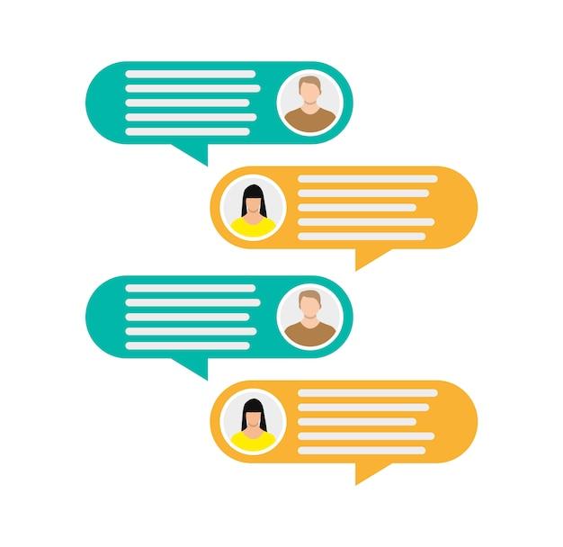 Casal avatar ícones com bolhas do discurso de diálogo