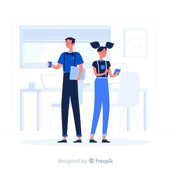 Casal azul com estilo plano de dispositivos tecnológicos
