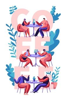 Casal bebe café motivação cartaz tipografia. homem e mulher falando na mesa do café no banner de publicidade. love mates scene for cafeteria imprimir flyer flat cartoon ilustração em vetor