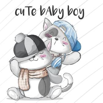 Casal bebê gatinho mão desenhada animal