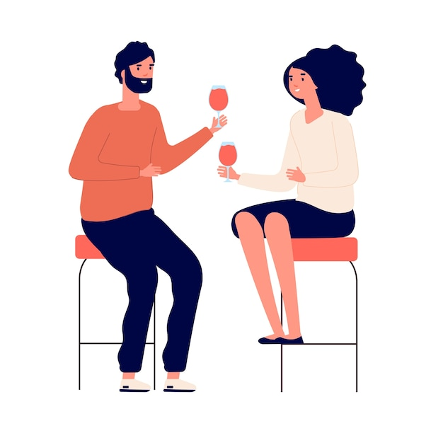 Casal bebendo. homem e mulher bebem vinho e fazem torradas no bar. conceito de desenho animado de encontro romântico. casal ama festa com ilustração de vinho