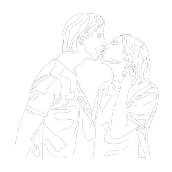 Casal beijando a cabeça mínima mão desenhada ilustração em um estilo de linha de desenho