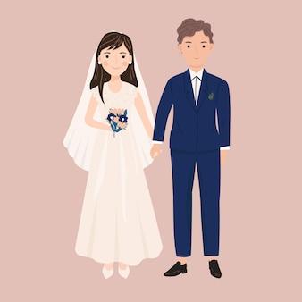 Casal bonito casamento na ilustração do estilo dos desenhos animados