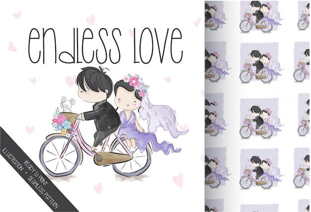 Casal bonito casamento no padrão sem emenda de bicicleta