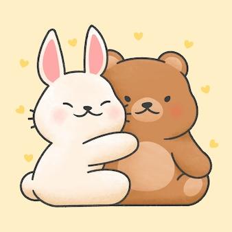 Casal bonito coelho e urso cartoon estilo mão desenhada