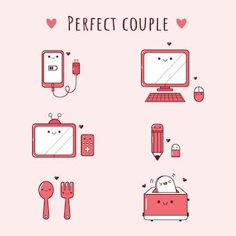 Casal bonito coisas kawaii dos desenhos animados para dia dos namorados