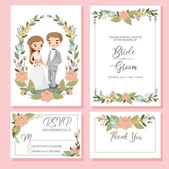 Casal bonito com conjunto de convite de casamento