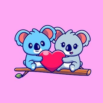 Casal bonito de coala segurando o coração na ilustração do ícone dos desenhos animados da árvore. conceito de ícone de casal de animais isolado. estilo flat cartoon