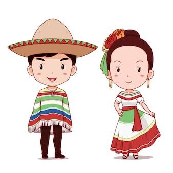 Casal bonito de personagens de desenhos animados em traje tradicional mexicano.