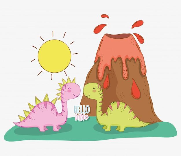 Casal bonito de saltasaurus dino com vulcão e sol