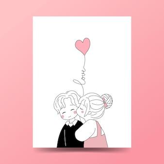 Casal bonito desenhado à mão estilo doodle. menina beija a bochecha do namorado com balão em forma de coração.