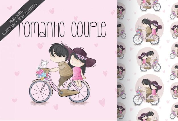 Casal bonito dos desenhos animados andar sem costura padrão de bicicleta