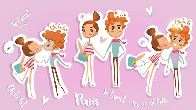 Casal bonito dos desenhos animados apaixonados - cartão para o dia dos namorados