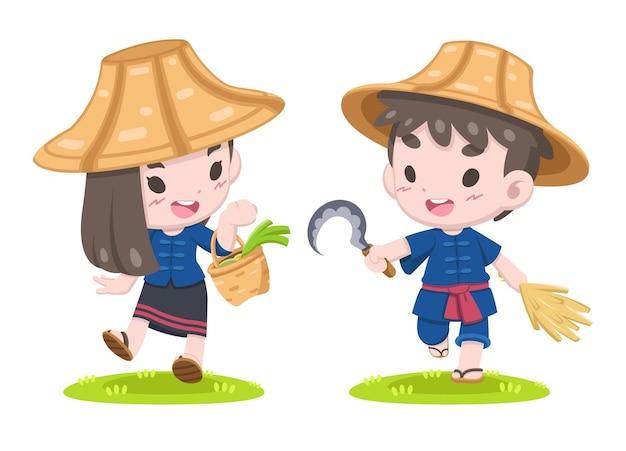 Casal bonito dos desenhos animados da ilustração de um fazendeiro tailandês