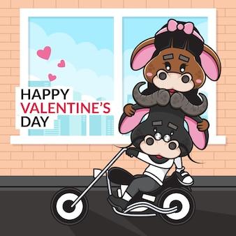 Casal bonito dos desenhos animados em motocicleta de boi e feliz dia dos namorados