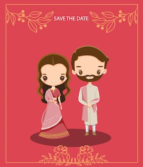 Casal bonito dos desenhos animados indiano para cartão de convites de casamento