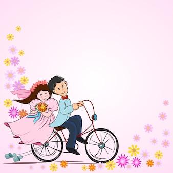 Casal bonito dos desenhos animados na bicicleta para cartão de casamento.