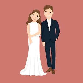 Casal bonito dos desenhos animados noivos para cartão de convite de casamento