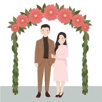 Casal bonito dos desenhos animados noivos
