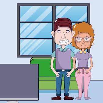 Casal bonito e engraçado dos desenhos animados em casa