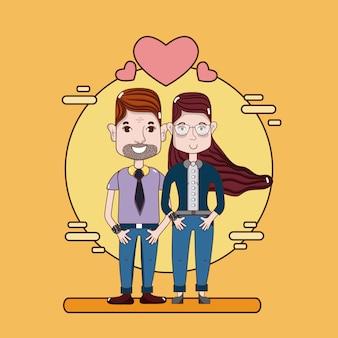 Casal bonito e engraçado dos desenhos animados no amor