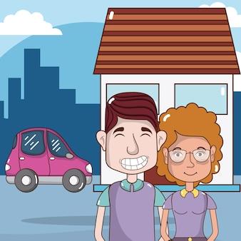 Casal bonito e engraçado em desenhos animados da cidade