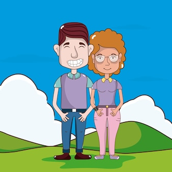 Casal bonito e engraçado no desenho animado do parque