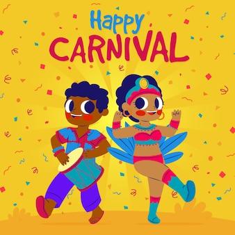 Casal bonito em roupas festivas, dançando no carnaval
