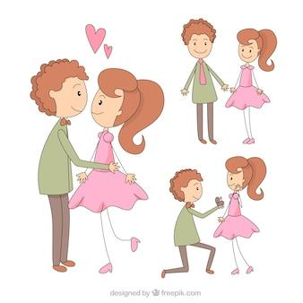 Casal bonito esboçado no amor