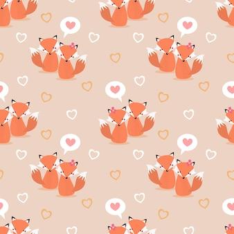Casal bonito fox e coração padrão sem emenda.