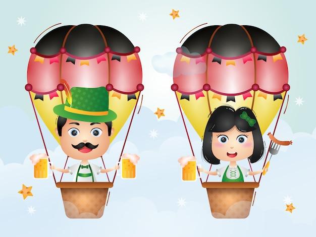 Casal bonito no balão de ar quente com vestido tradicional da oktoberfest