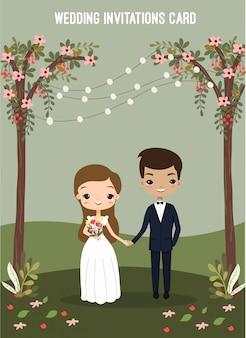 Casal bonito no cartão de convites de casamento