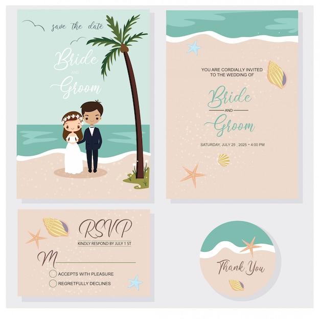 Casal bonito no conjunto de tema de convites de casamento de praia